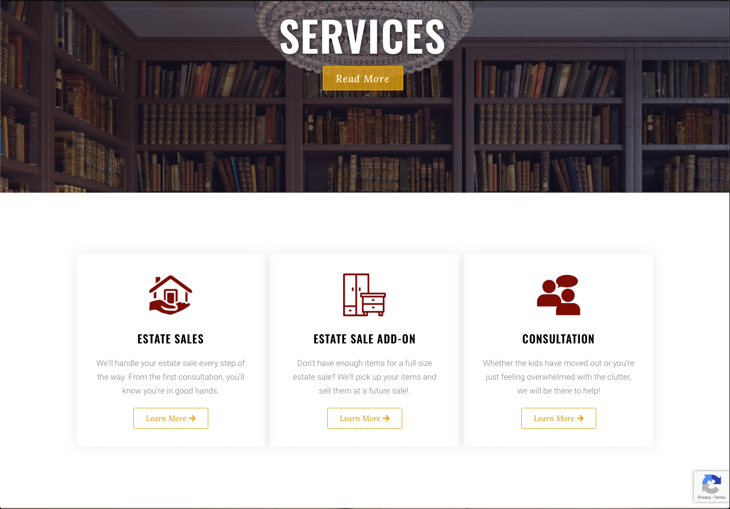 Services page on an e-commerce website designed by 2oddballs Creative