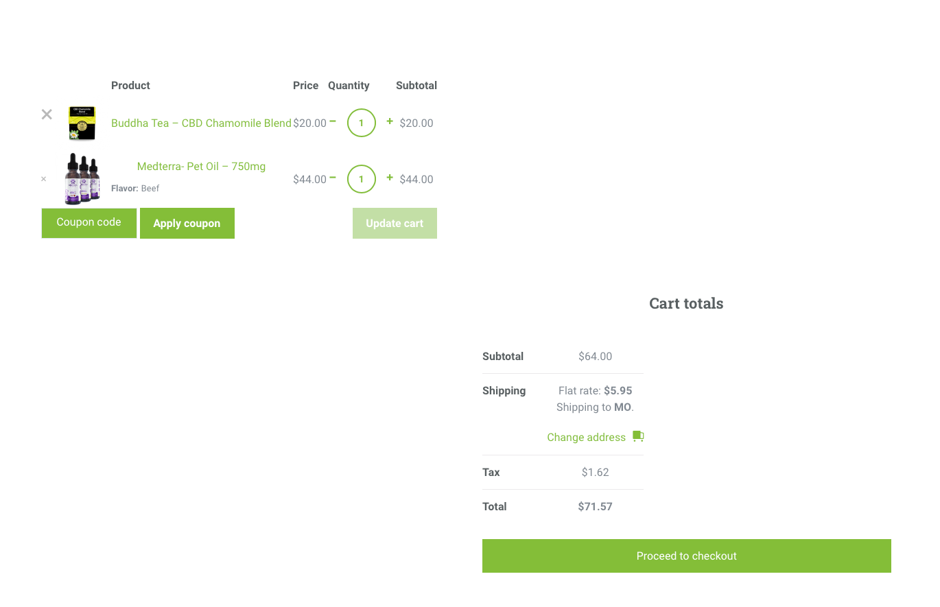 Example of an online cart from an e-commerce website designed by 2oddballs