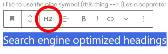Search engine optimized headings